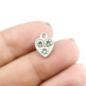 Подвеска сердце в стразах серебряное #5283