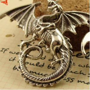 Подвеска дракон 43х46 Серебро #5090