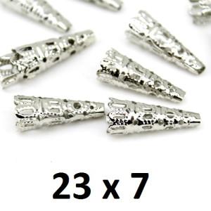 Шапочки-конусы 23х10 Серебро, 1гр (2шт) #2740