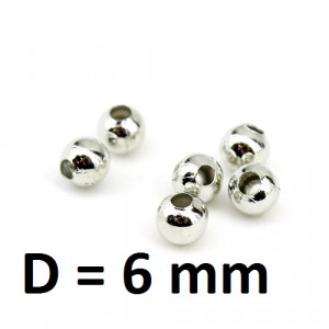 Бусины D=6мм Серебро, 1гр (3шт)  #2756