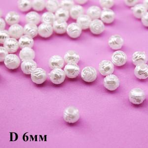 Бусины с цветочным узором, D=6, 1гр (12шт) Белые #1011