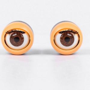 Глаза моргающие с ресничками карие D=17  2шт #10285