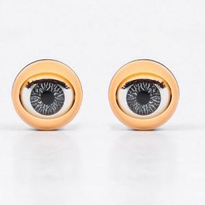 Глаза моргающие с ресничками серые D=15  2шт #10287
