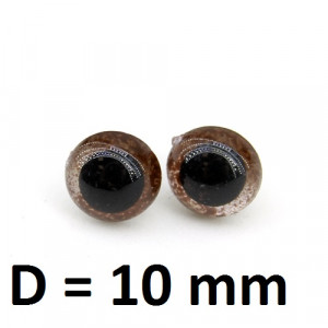 Глаза винтовые D=10мм Карие #2075