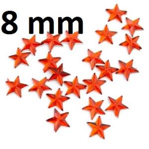 Стразы Звёзды красные 8мм, 1шт #2207