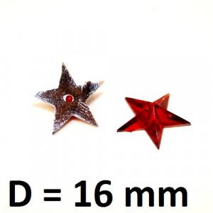 Стразы Звёзды красные 16мм, 1шт #2218