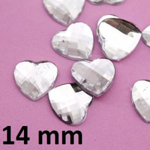 Стразы Сердечки  Прозрачные 14мм, 1шт #2229