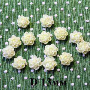 Кабошон Цветок D=13, 1шт Кремовый #5434