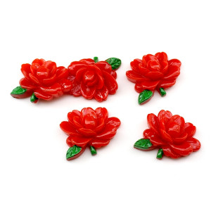 Кабошон красный Цветок D=26мм #5752