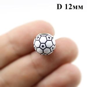 Бусины футбольный мяч D=12, 1шт #1245