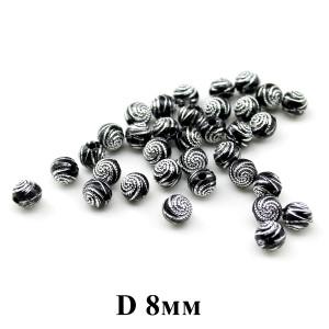 Бусины черные с узором D=8, 1шт  #1250