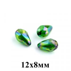 Бусины АВ Капля с огранкой 12х8, 1шт Зелёные #5692