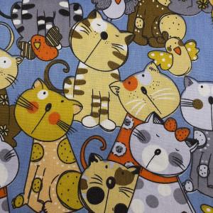 Ткань Брязь с котами 40х50см #12172