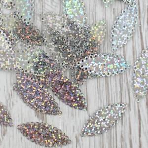 Пайетки 32х13мм Листок 10 гр (SF-1938) серебро #11954