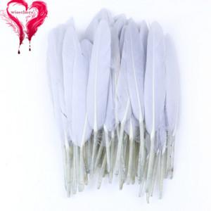 Набор перьев 10 шт 15см Светло-серые #12134