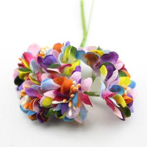 Связка радужных цветов с тычинками 6шт #11705