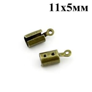 Концевики-Зажимы 11х5 мм Бронза #3766